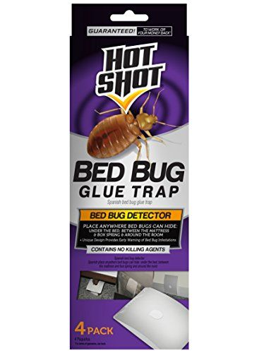 Hot Shot HG-96318 4 Count Bed Bug Glue Trap   Hot Shot HG-96318 4 Count Bed Bug Glue Trap Hot shot bed bug glue traps provide an early warning of bed bug infestations and alert you to the need to begin treatment. Place anywhere bed bugs can hide and the powerful glue traps prevent them from crawling and hiding so you can see easily see if bed bugs are present. Treatment at the first sign of bed bugs can prevent severe infestations. Traps do not contain a killing agent.  http://www...