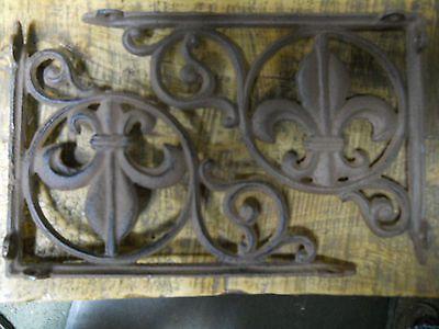 4 Cast Iron Antique Style Fleur De Lis Brackets, Garden Braces Shelf Bracket