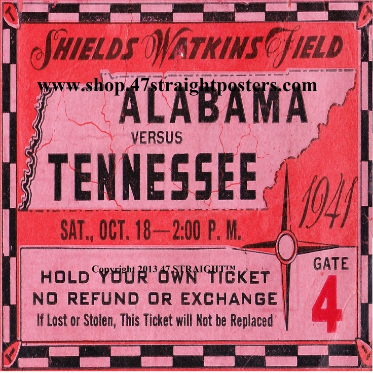 1941 Alabama vs. Tennesse Football Ticket Coasters. Great Father's Day Gifts for football fans! #47straight Alabama Crimson Tide Father's Day Gifts.