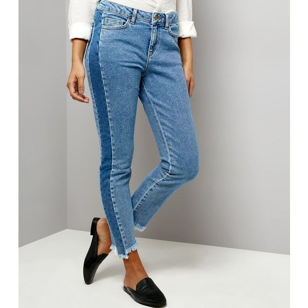New Look Blue Two Tone Fray Hem Jeans ($22) ❤ liked on Polyvore featuring jeans, blue, two tone jeans, 2 tone jeans, frayed-hem jeans, blue jeans and new look jeans