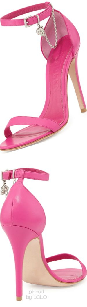 Alexander McQueen Ankle-Wrap d'Orsay Sandal with Skull Charm | LOLO