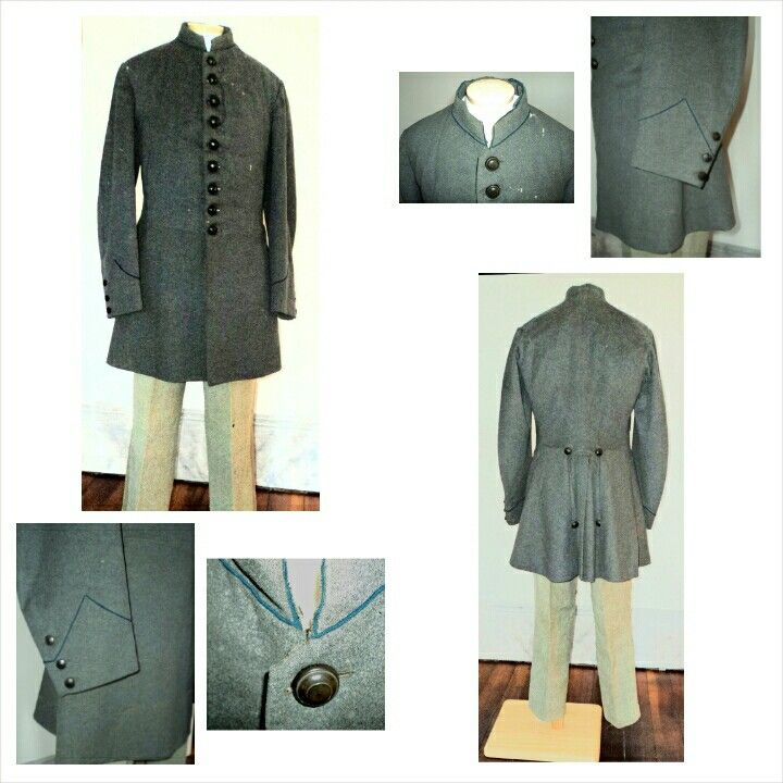 Early War enlisted men's frock coats are the rarest existing form of the Confederate uniform coat. This is because though the frock coat was prescribed for Confederate enlisted men by the earliest regulations, they were soon superseded by the short shell jacket, in order to conserve hard to come by cloth. This is a beautiful example of a cadet grey, single breasted, frock coat; not only does it have infantry branch of service colored piping around the collar, it also has regulation…