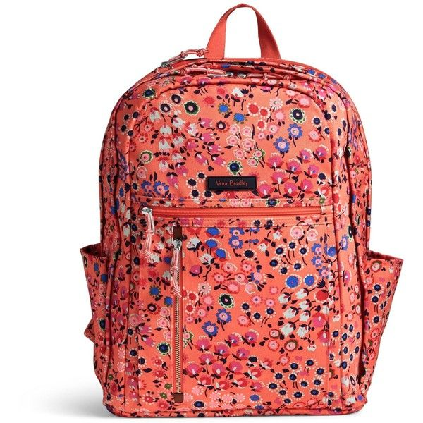 Vera Bradley Lighten Up Grand Backpack ($108) ❤ liked on Polyvore featuring bags, backpacks, coral meadow, light weight backpack, lightweight daypack, expandable backpack, padded backpack and lightweight laptop backpack
