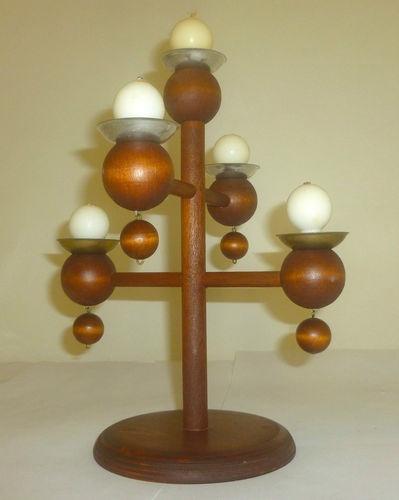 Mid Century Finland Aarikka Pine Candelabra Candleholder