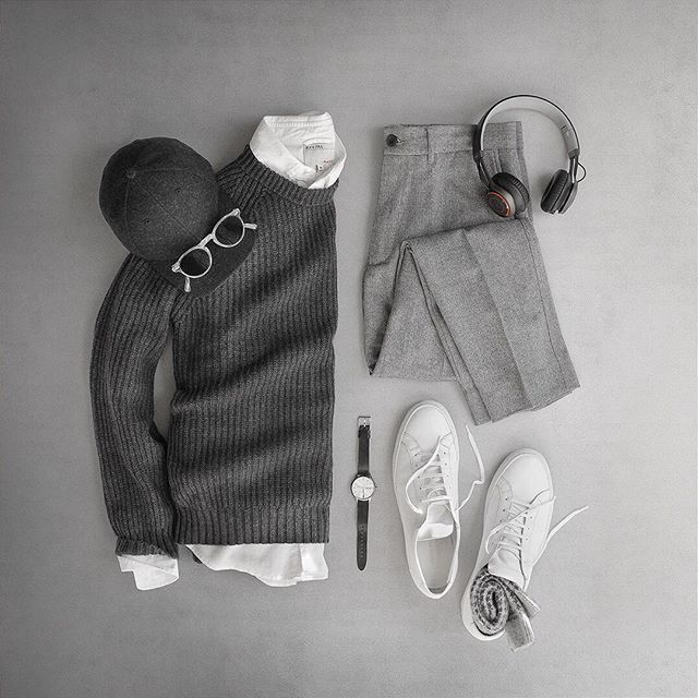 Currently obsessed with groutfits 😍#grayoutfits Sweater: @ledburyshirts Charcoal Heather Woodside Crew Pants: @grayers Slim Wool Shirt: @alexmillny Japanese Oxford Watch: @uniformwares C40 Glasses: @oliverpeoples Gregory Peck Hat: @varsityheadwear Cashmere Headphones: @jabra Wireless Shoes: @commonprojects Achilles Socks: @jcrewmens