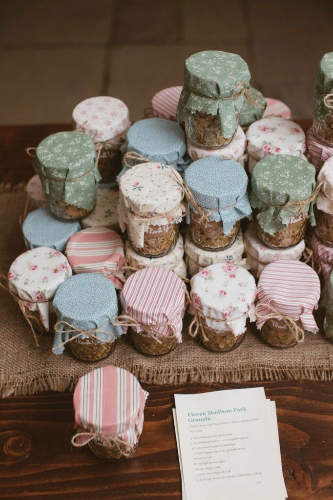 DIY Favors - homemade granola in mason jars! Just one of many details of this rustic garden party wedding at Crossed Keys Inn, Andover NJ.