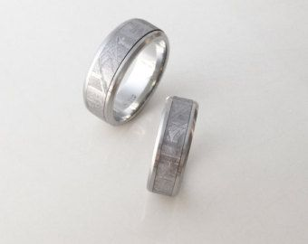 Superb Meteorite Wedding Band Modern Round Edge Meteorite Ring with