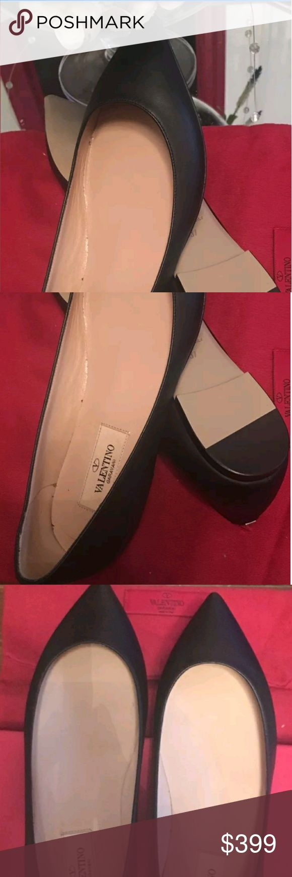 VALENTINO Ballerina Black Leather Shoes Size 7 Beautiful and super comfortable Pyramid studs dot pointy-toe flat.  Leather upper, lining and sole.  By Valentino; made in Italy.  Salon Shoes. Brand new boxed. Valentino Shoes Flats & Loafers