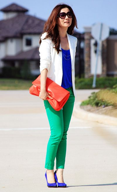 I love how this ivory blazer brings this color blocked look together #colorblocking #style #fashion