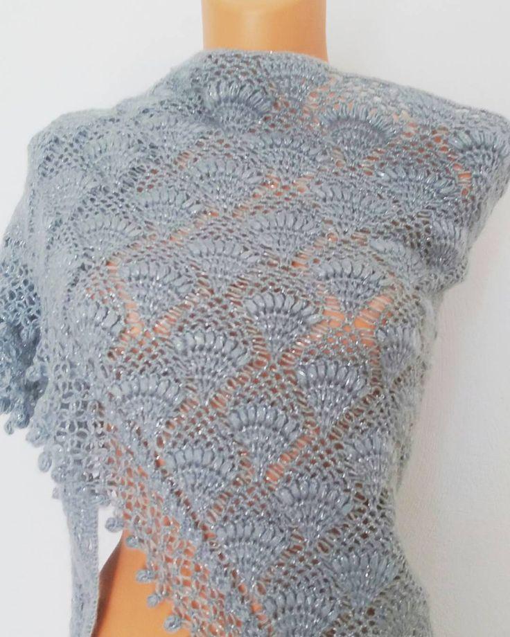 "9 Beğenme, 2 Yorum - Instagram'da LoveKnitCrochet (@loveknitcrochet): ""Free Shipping $59 Crochet Shawl, Grey, Silvery, Mohair, Acrilic, Wool Shawl Payment link…"""