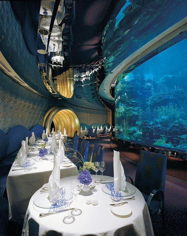 Burj Al Arab Hotel Dining Aquarium ~ Abu Dubai, United Arab Emirates