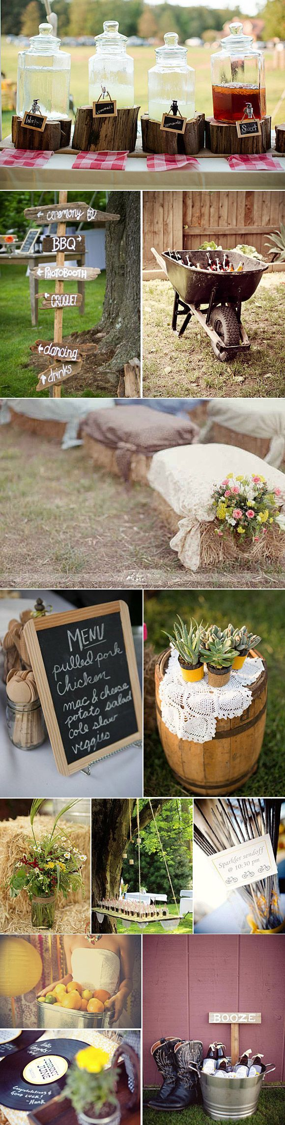Country Wedding Ideas for Cakes, Decorations, Menu Signs, Seating with Hay Bales and More Ideas I Love
