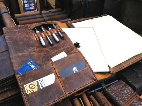Man bag portfolio - leather business pad folio case, leather iPad accessory, leather iPad case by Aixa