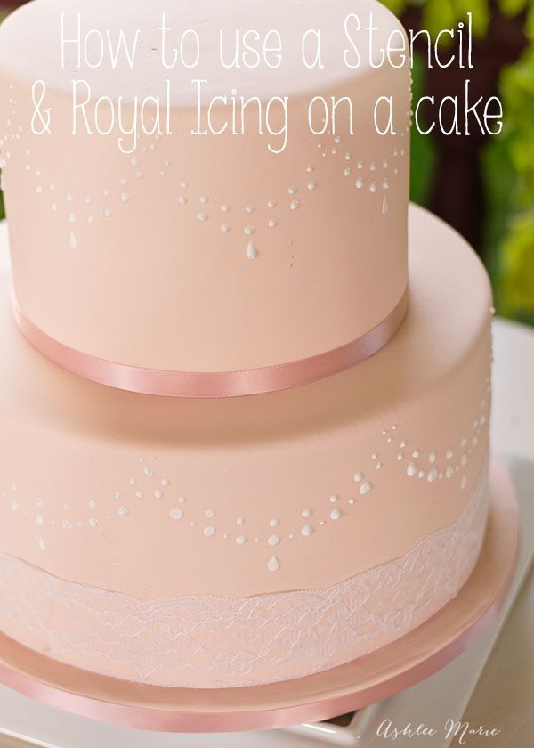 a full video tutorial on how to use a stencil to get perfect and repetitive royal icing decorations onto a fondant cake