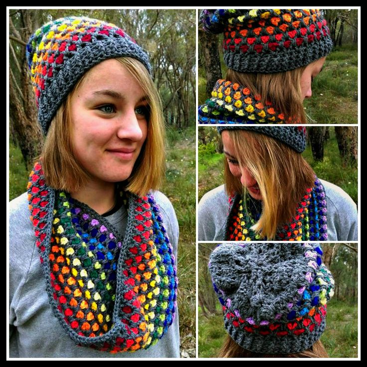 'Moroccan Rainbow' Slouch Hat and Cowl...collage.  Project information and pattern links here;   Slouch Hat - http://www.ravelry.com/projects/LindaDavie/moroccan-midnight-slouch-hat    Cowl - http://www.ravelry.com/projects/LindaDavie/moroccan-midnight-cowl  OR search for 'Moogly' patterns. Model: Marnie Davie