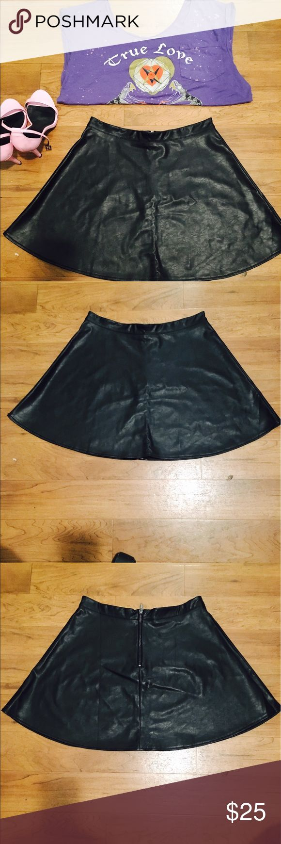Pleather circle skirt!!! Black pleather mini circle skirt!!! Zipper in back!!! Great skirt to add a little edge to your look!!! iris Skirts Circle & Skater
