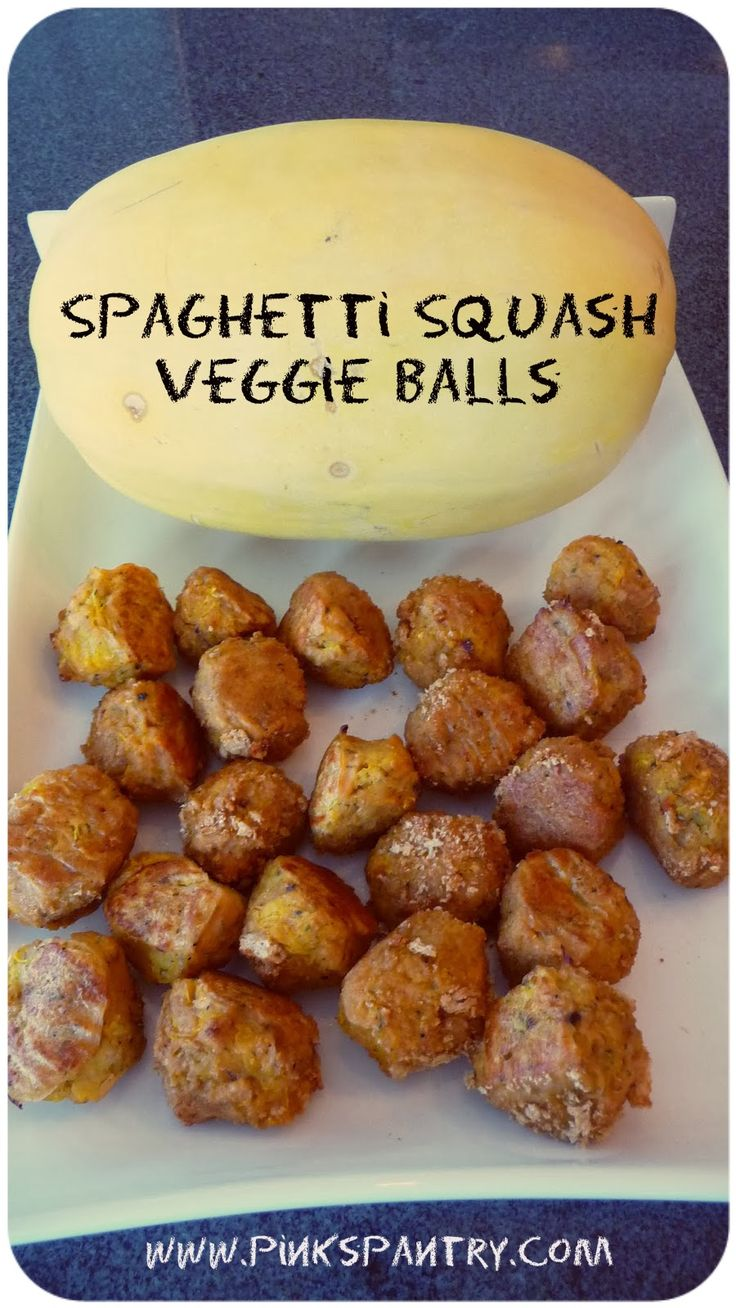 Spaghetti squash veggie balls! Great as an appetizer, for pasta sauce or salad topper. They freeze great and are super easy to make. 20 calories a ball!