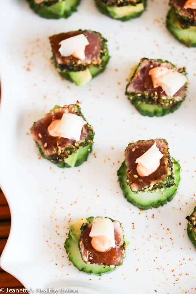 Spicy Tuna Avocado Cucumber Appetizers with Pickled Ginger - these little bites are impressive and easy to assemble for holiday cocktail parties