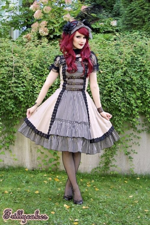 """fanplusfriend:  Thanks for sharing! Client wearing our """"Time Traveler"""" Dress:http://www.fanplusfriend.com/time-traveler-steampunk-lolita-double-layer-dress-jsk-2colors-instant-shipping/"""