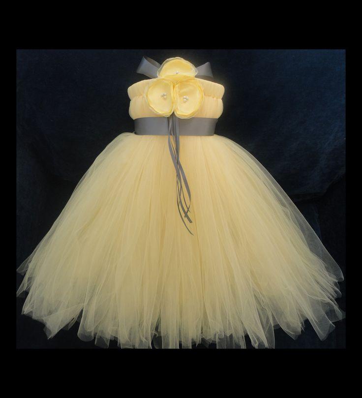 girls gray dress | Grey Yellow Flower Girl Dress by StrawberrieRose on Etsy