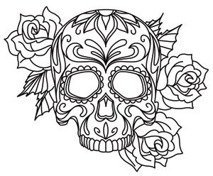 Free coloring pages of skull hand