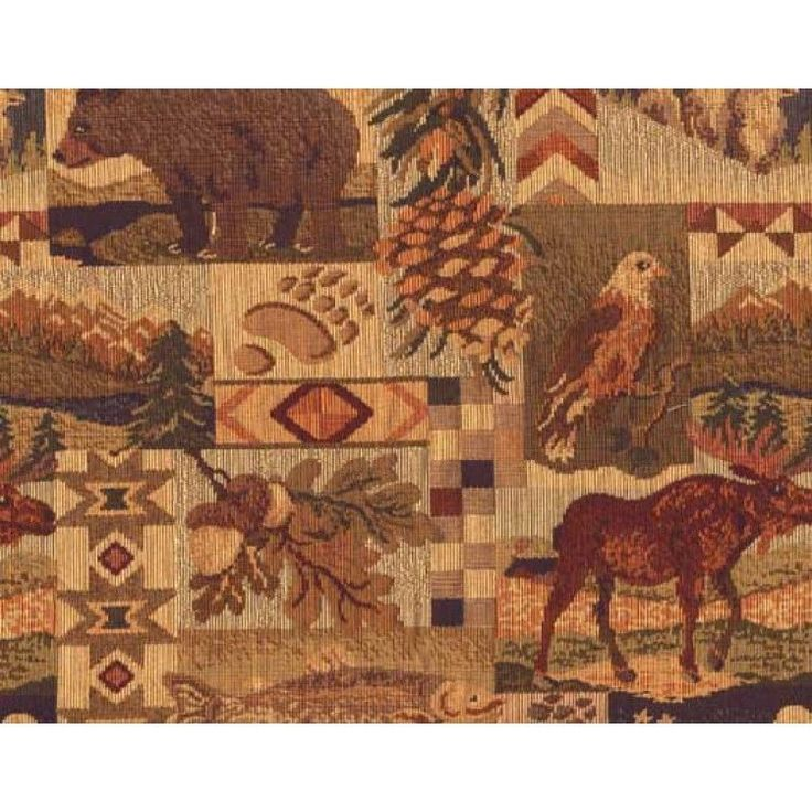 MOOSE UPHOLSTERY FABRIC MOUNTAIN LODGE WESTWIND RUSTIC TAPESTRY