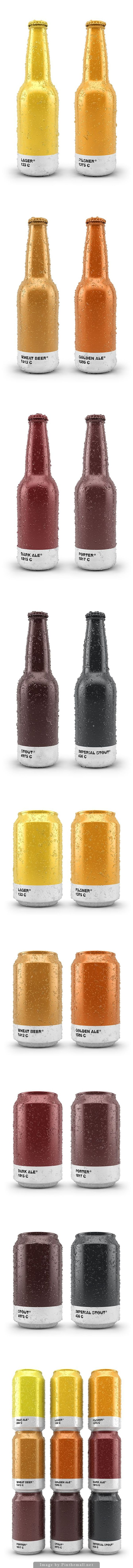 Having these Beer bottles look like Pantone swatches works well based on the shade of beer. Having lighter colors for lighter beers is a very good idea to ket the consumer know the type of beer they will be drinking.