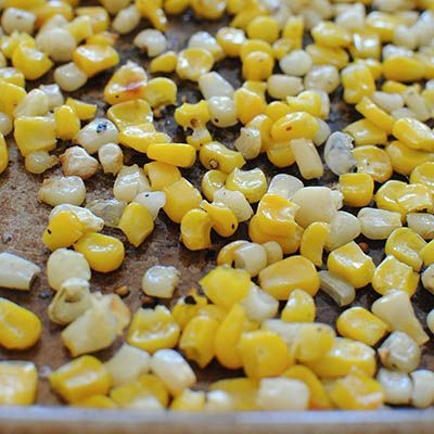 Take frozen corn, place on a baking sheet with just a little bit of olive oil, salt and pepper, place under the broiler. Five minutes later you'll have perfectly roasted corn. Roasting vegetables is the way to go for the best flavor! My daughter was skeptical when she saw me put corn in the oven, but she loved this!.