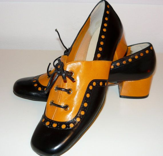 60's mod dolly shoes orange & brown by DANDYFASHIONS on Etsy