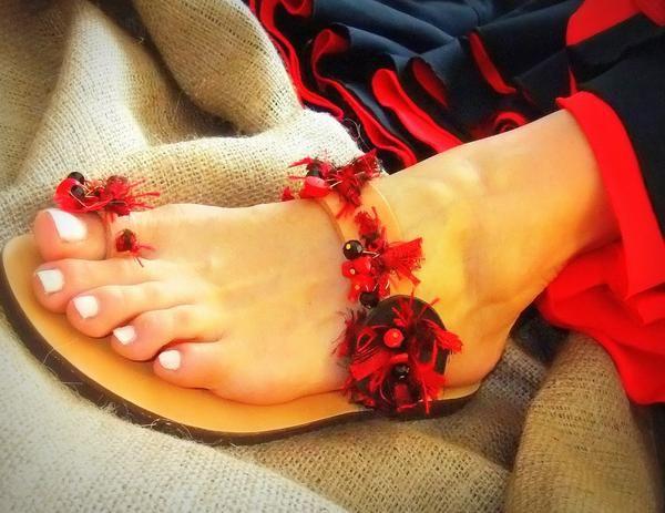 Eros Crimson - flat sandal