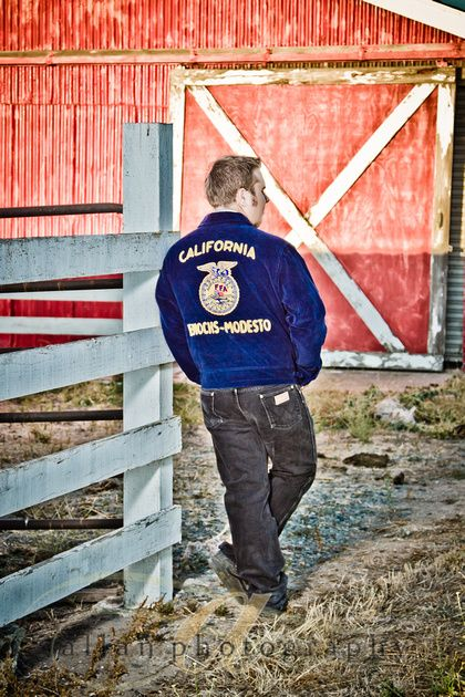 senior pic w/ FFA jacket in front of old red barn.... Love!!! love the country feel @Mariah Rowsey