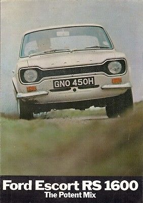 Ford Escort RS 1600 Mk1 1970 UK Market Sales Brochure