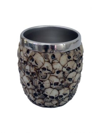 """Skulls"" Rinse Cup by Pacific Trading (Bone)"
