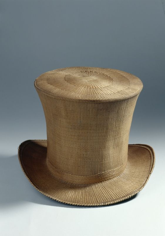 Top hat, straw lined with silk with leather sweatband, c. 1820.