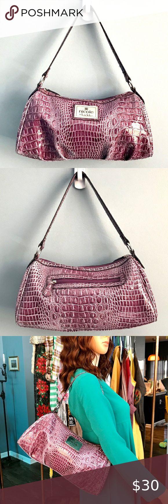 NICOLE by Nicole Miller purple embossed should bag This is