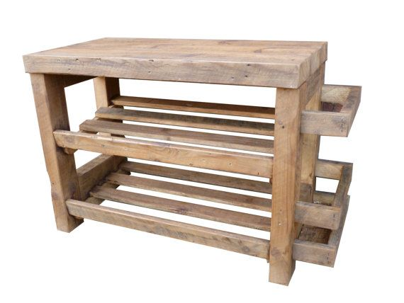 rustic shoe rack with seat and umbrella by