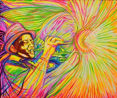 "Saatchi Art Artist Lola Lonli; Painting, ""Roy Eldridge got his finest chord"" #art"