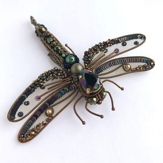 Unique rainbow dark Dragonfly-brooch with Swarovski crystal. Its absolutely gorgeous and extraordinary jewelry which made in old french embroidery technic! Im very proud of this result and I dream to give my treasure to caring hands! All elements in my embroidered jewelry sewn