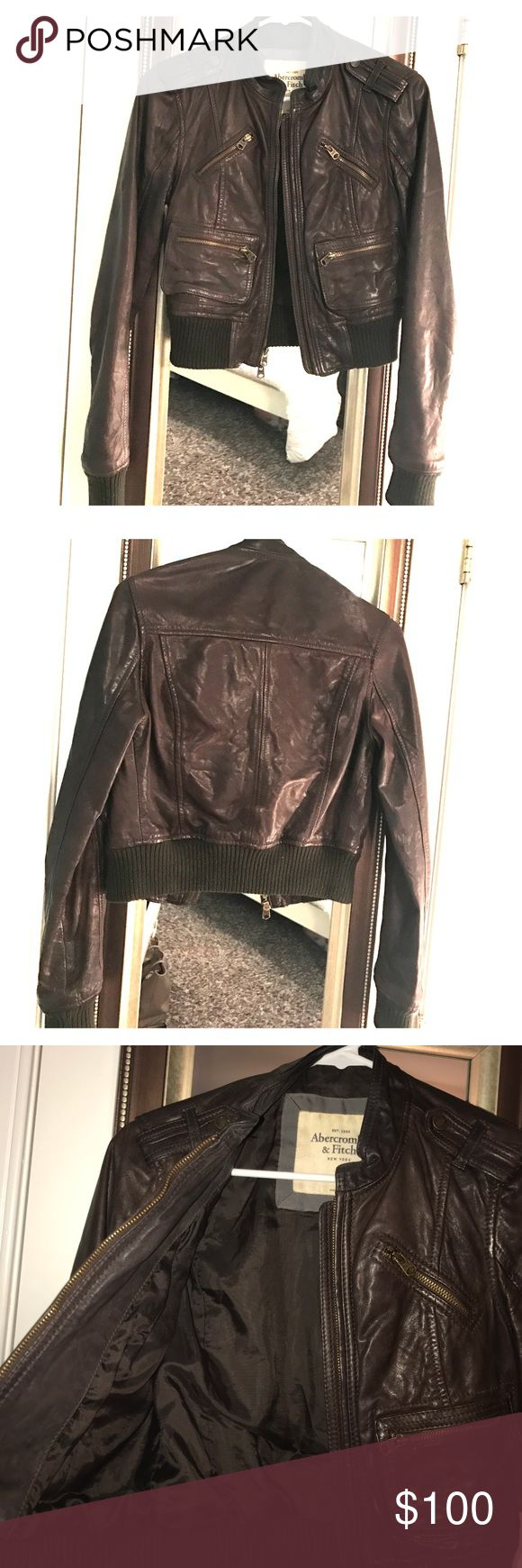 Abercrombie and Fitch brown crop leather jacket Crop brown leather jacket size small by Abercrombie and Fitch ! Perfect cut and super cute, in great condition. Abercrombie & Fitch Jackets & Coats
