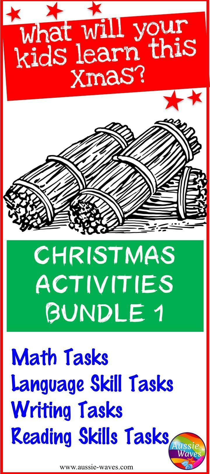 A Christmas bundle of printable activities. Reading, Math, Language and Writing tasks. All FUN learning and thinking!