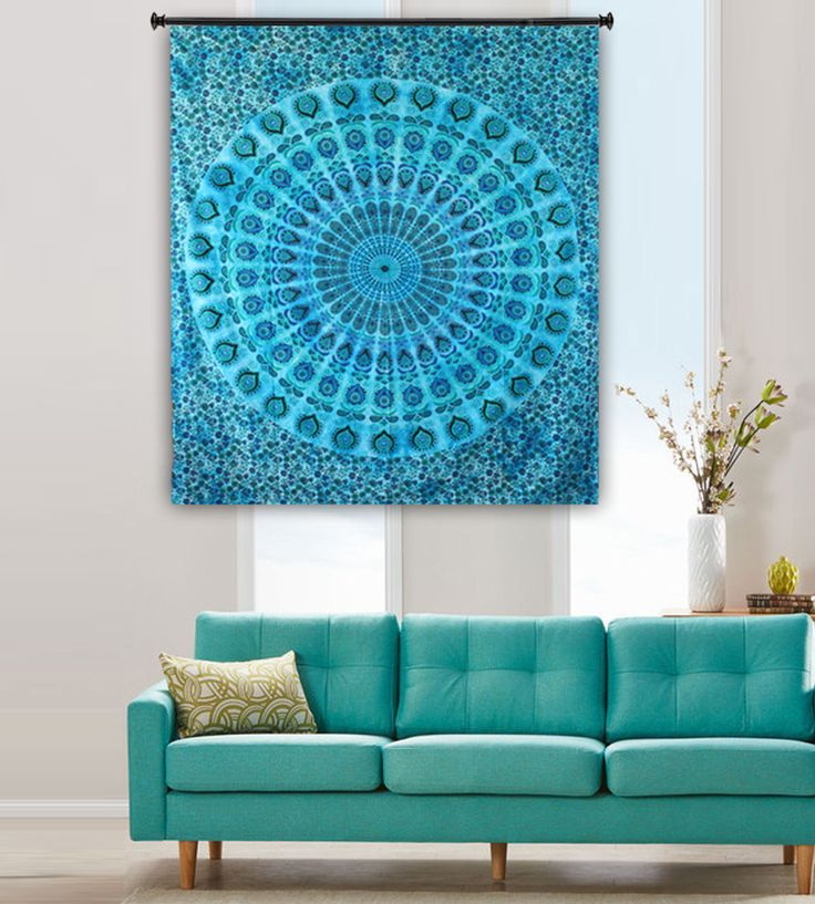 Blue tapestry bohemian mandala tapestry. Perfect for topping a bed, couch, wall or your favorite chair.This Wall Tapestry can also be used as a: - Tapestry or a Wall Hanging, Bedspread, Bed Cover, Table Cloth, Curtain, Dorm Decor, Picnic Sheet Add an ethnic feel to your room with this cotton handmade wall hanging.