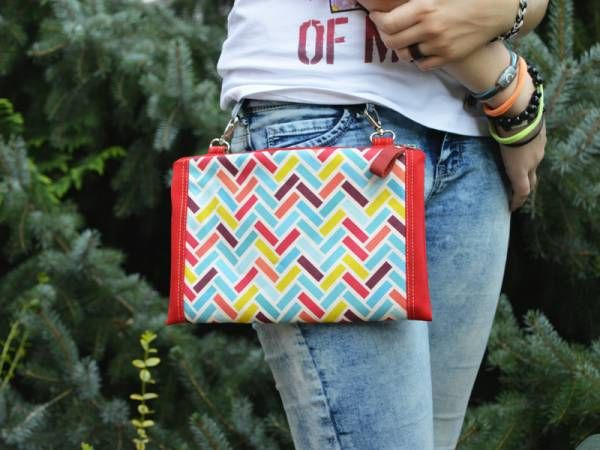 Red Canvas with Colors Chevron