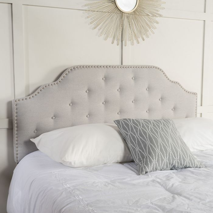 Silas Studded Upholstered Headboard Full Queen Light Gray