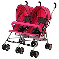 Dream On Me Double Twin Stroller, Pink