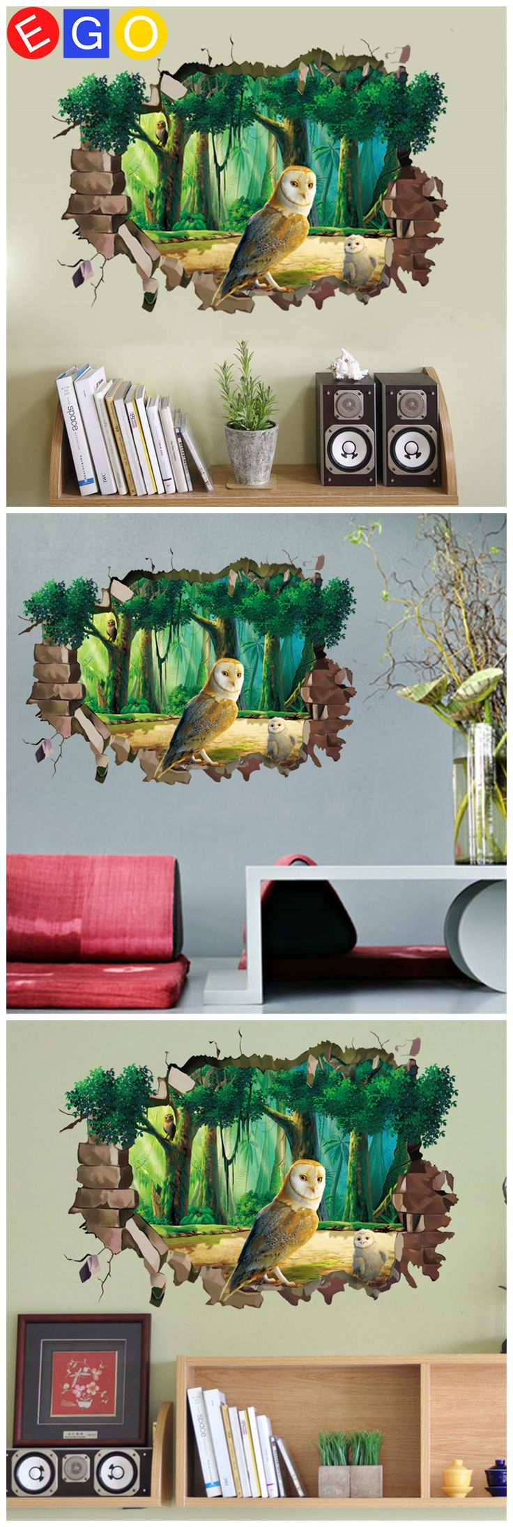 New 3D diy Broken Cave Forest Owl fashine removable decorative wall sticker Living room study sofa backdrop home decor decals