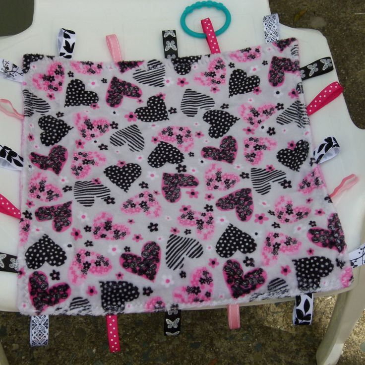 hearts tag blanket sensory ribbon blanket minky tag blanket taggie interactive small security tab blanket lovey tag blanketbaby shower