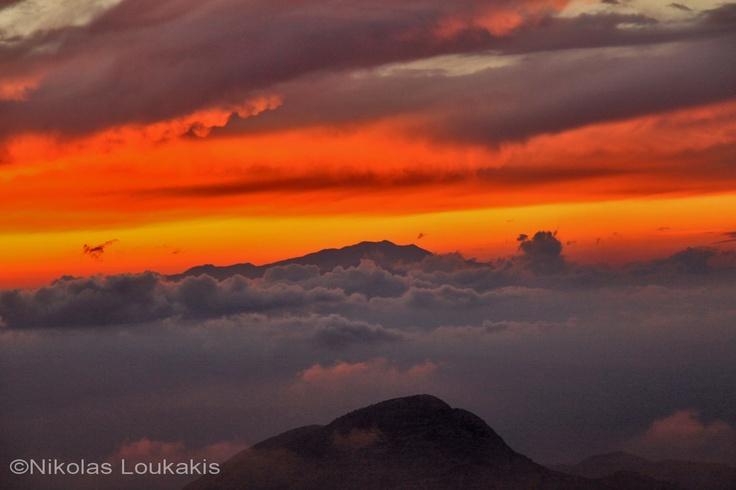 The view to Psiloritis mountain from mountain Dikti (Crete)