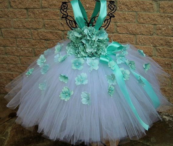 WHITE AQUA FLOWERS  White Tutu Dress   Aqua Tutu Dress