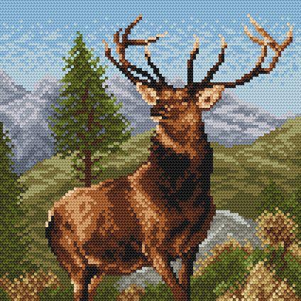 free crochet crosstitch | Free Deer Picture Cross Stitch Patterns by Stefan