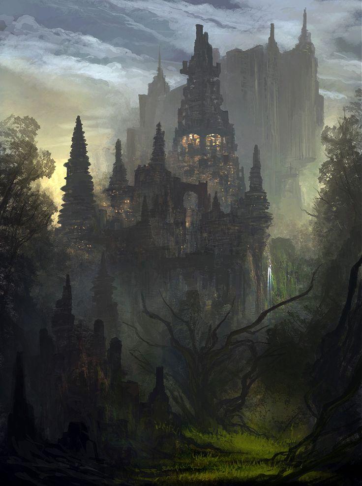 fantasy concept castle dark kingdom medieval palace zhu feng castles huge within landscape artwork landscapes theartofanimation place tones depth magic